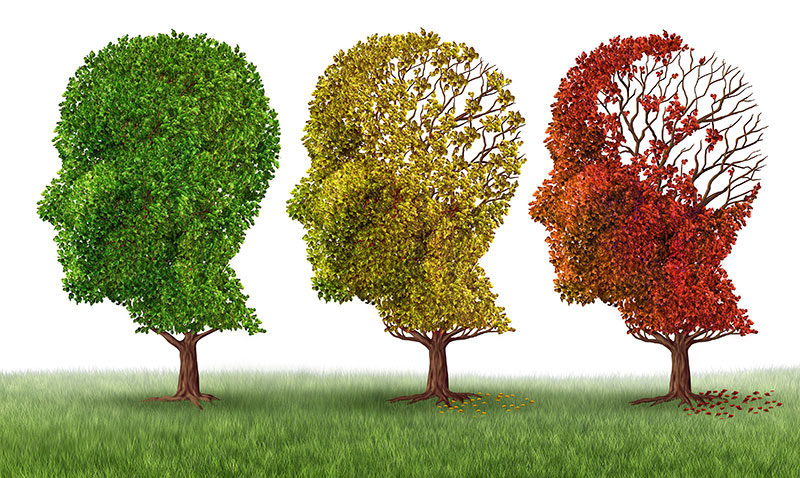 Trees depict dementia through hearing loss by dying and losing leaves.