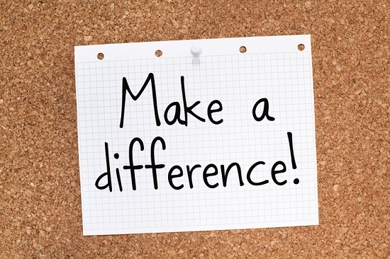 Make a difference text on paper
