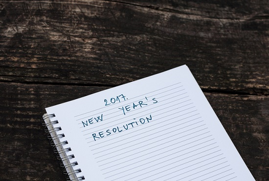 Image of a notebook with the text 2017 New Year's Resolution