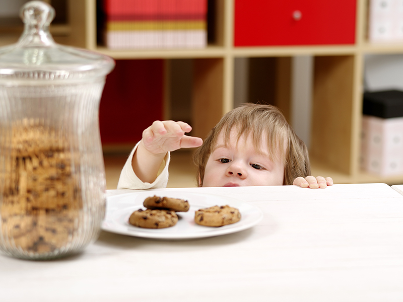 Child reaching for a tempting cookie from a plate on the table.