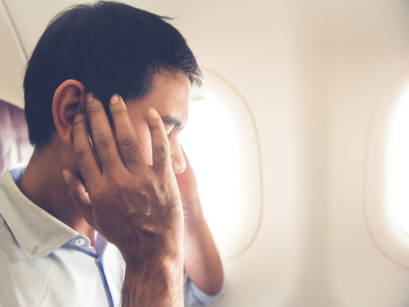Man on plane whose ringing in the ears worsened.