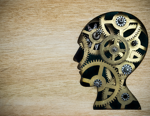 Picture of a head with gears in it.
