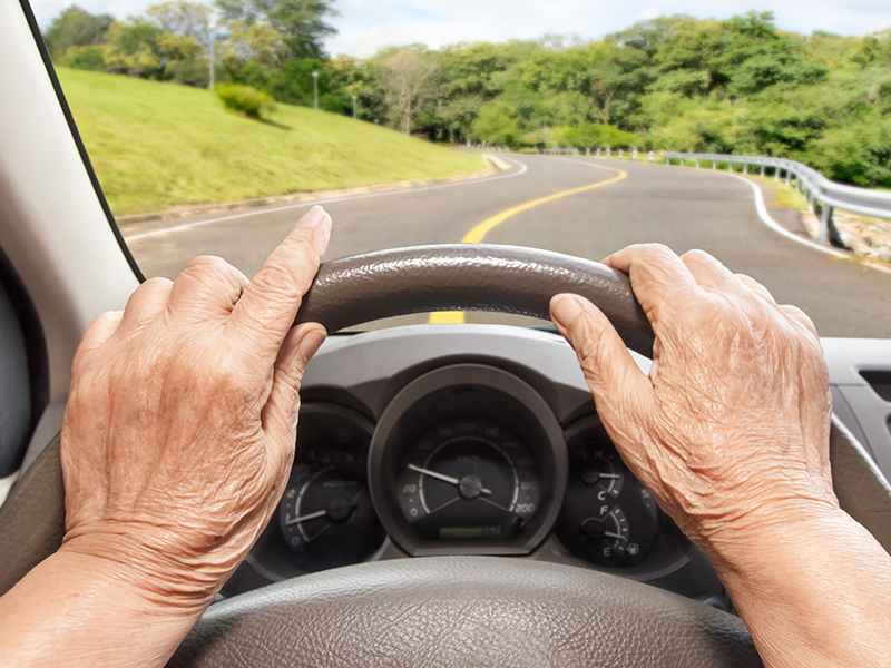 Picture of a senior with hands on the wheel |