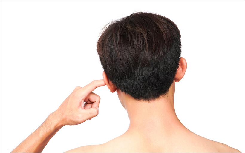 Person with finger in your ear.