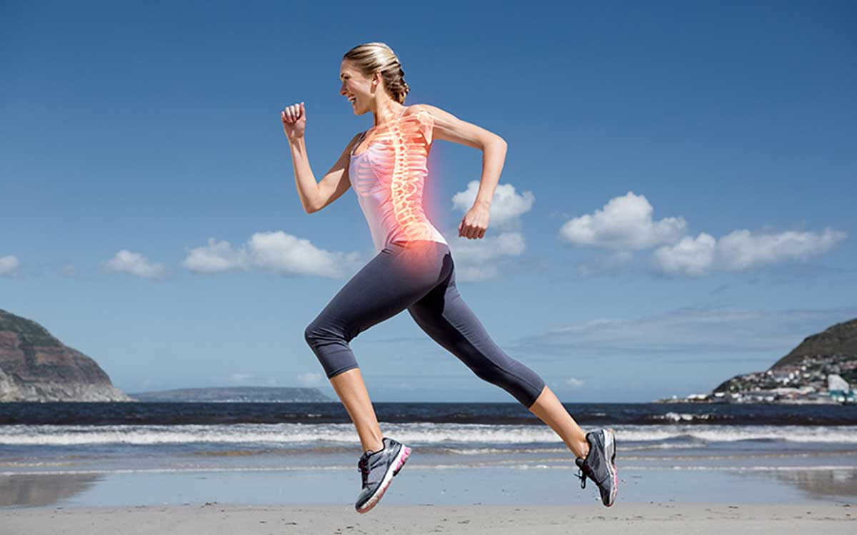 Picture of woman running. You can see her bones like an x-ray.
