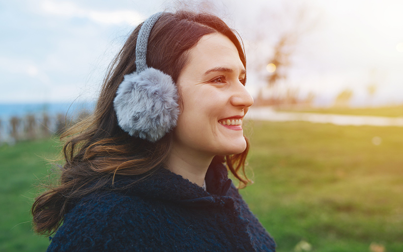 Woman wearing ear muffs