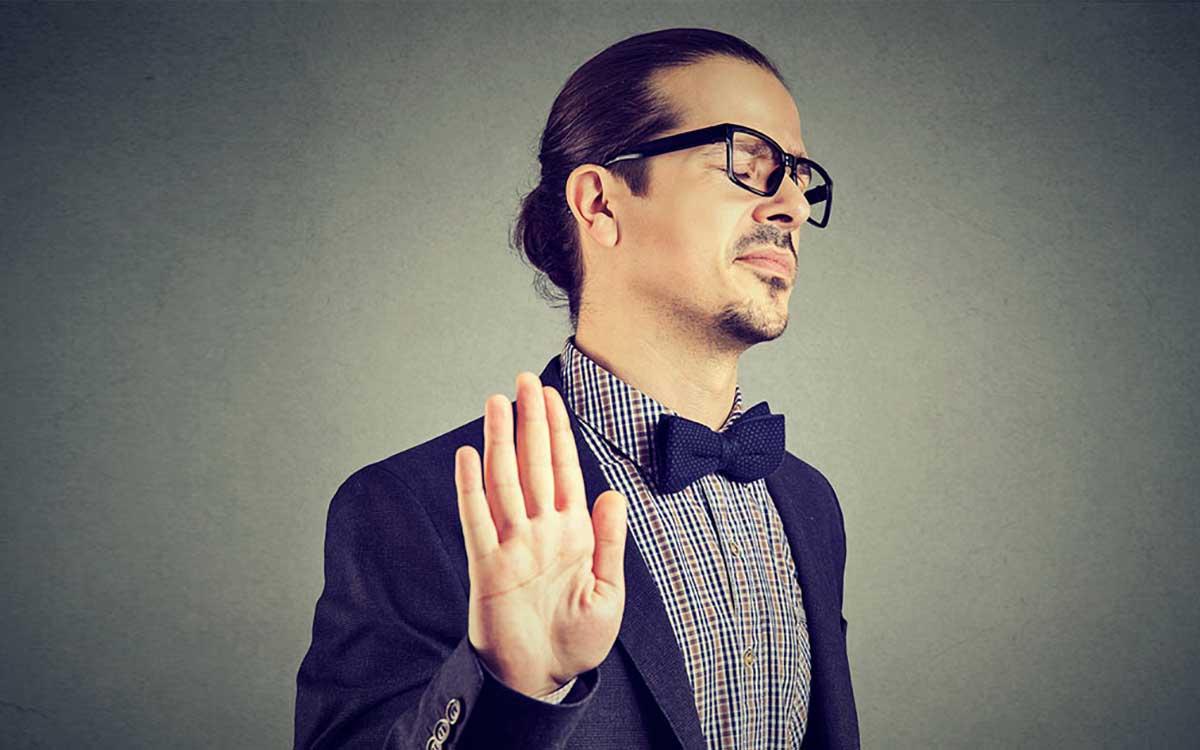 Man denying getting hearing loss.
