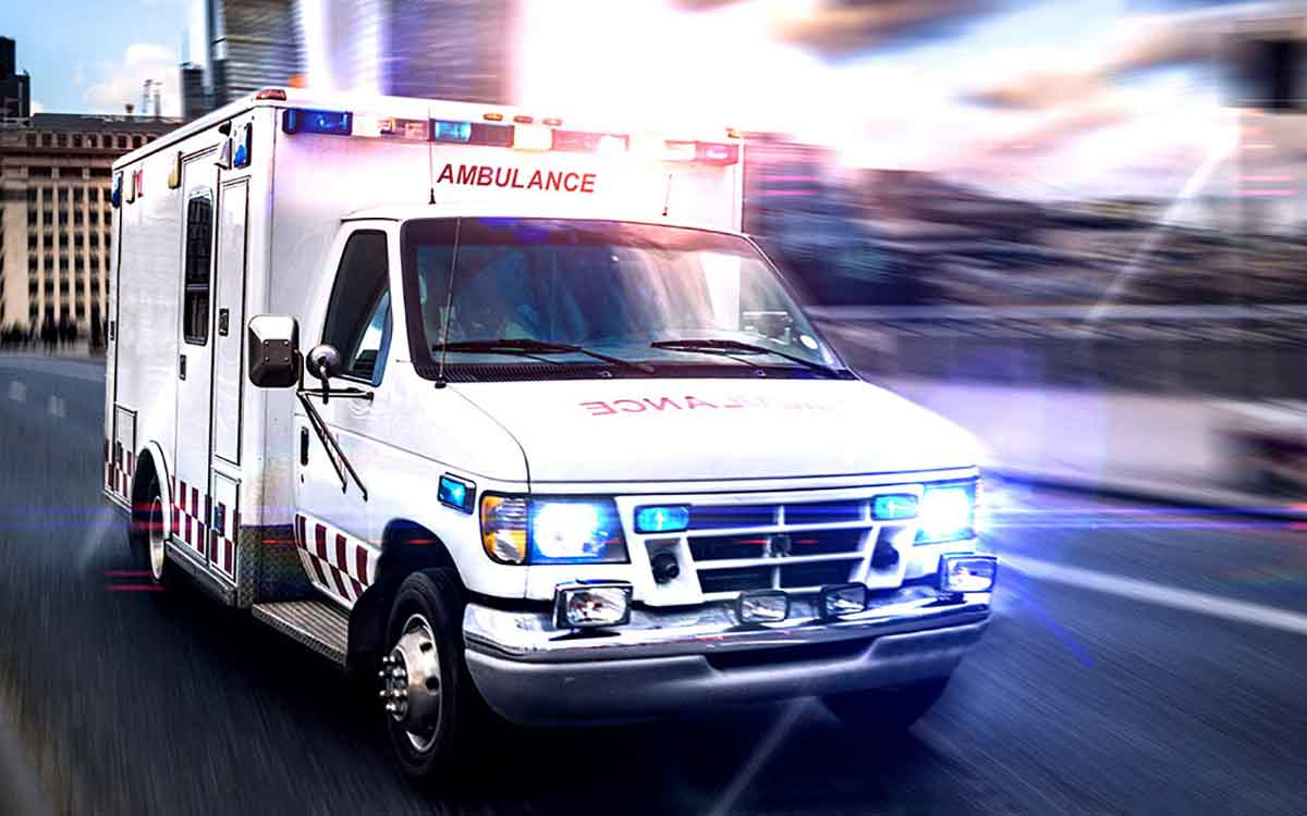 Ambulance driving someone to hospital because of hearing loss accident.