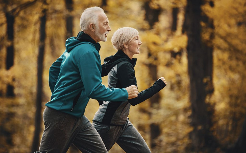 Couple exercising to help their hearing.