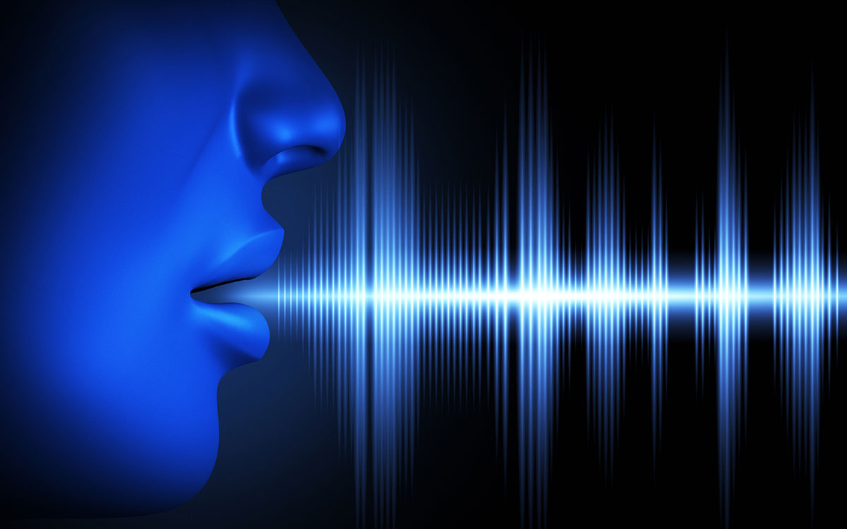 Sound waves coming out of mouth as high frequency.