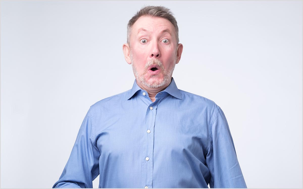 Man is very surprised because he missed a hearing test.