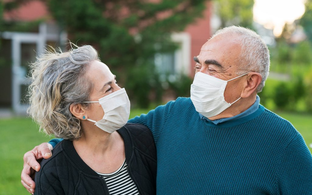 Couple wearing masks learning to communicate better.